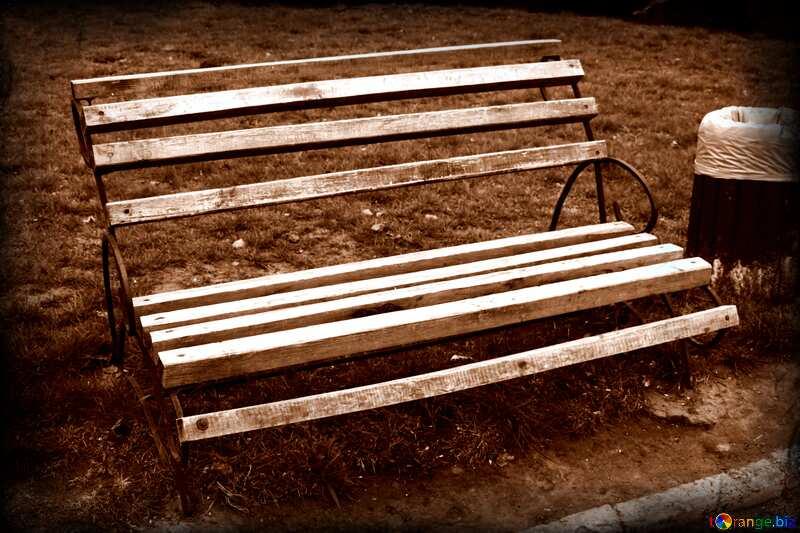 Old  bench  park dark frame №5193