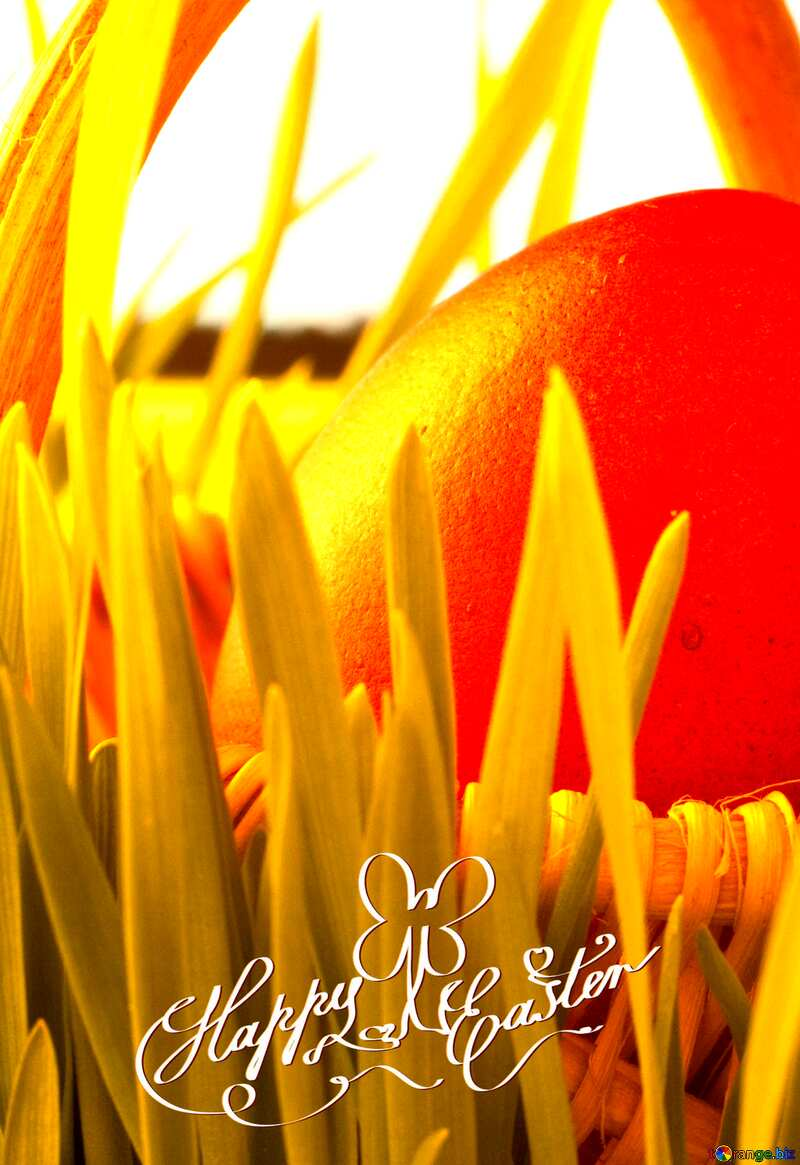 Happy Easter red egg in grass card background №8196