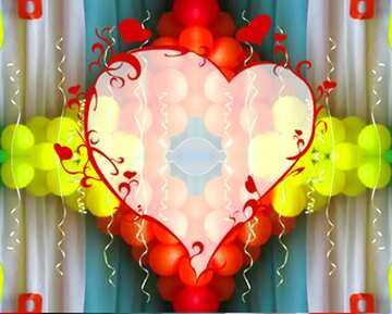 The effect of light. Very Vivid Colours. Fragment. Pattern Heart.