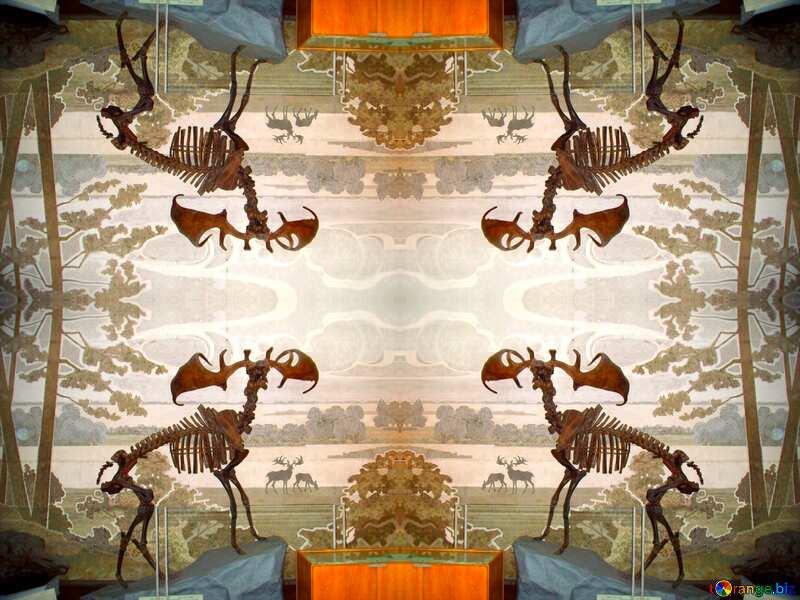 Prehistoric elk skeleton pattern frame №21471