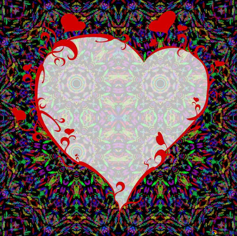 Abstract color frame with heart №40442