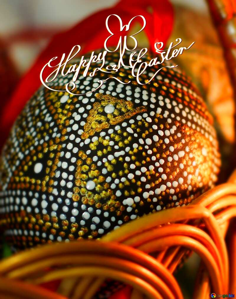 Easter eggs blur frame Christ risen happy Easter card №29682