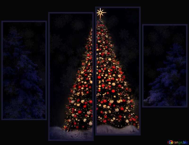 christmas tree dark modular background №40739