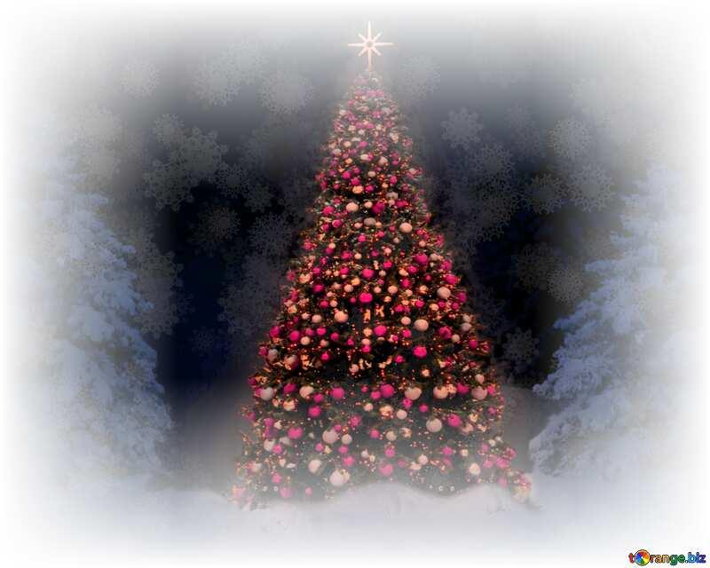 un Árbol de navidad con esferas rojas №40739