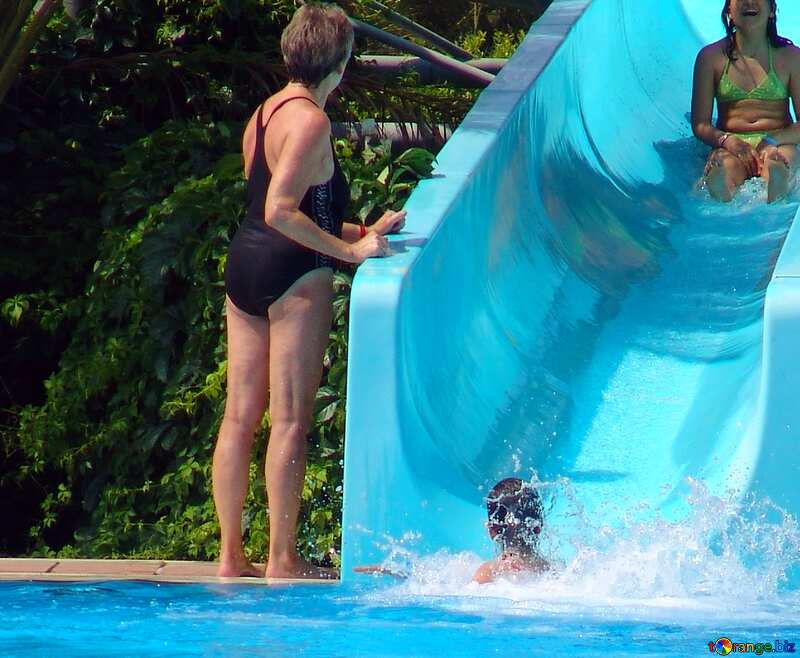 Woman coming down the waterslide №8816