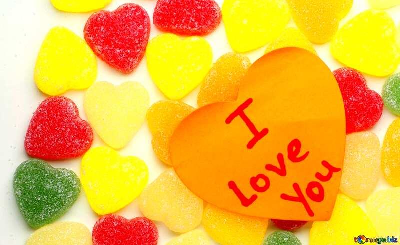 Abdeckung. Hintergrund, ich liebe dich in Süßigkeiten. №18767