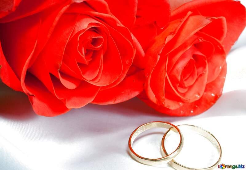 Abdeckung. Zwei Rosen , zwei Ring an Bett. №7223