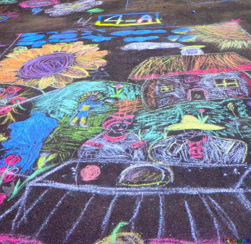 Children chalk drawing №32608