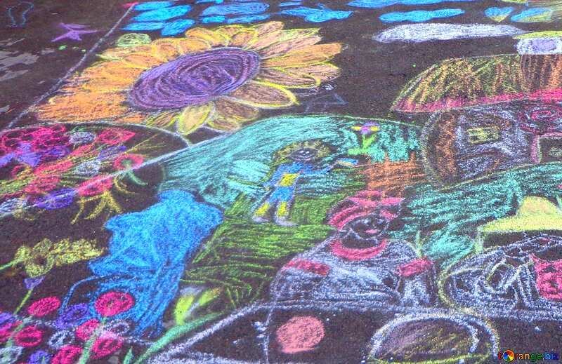 Abdeckung. Kinder zeichnen mit Kreide. №32608