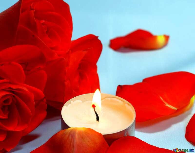 Bild für Profilbild. Romantisch Nacht . Bett , Rosen und , Blumenblätter Kerzen.. №7275