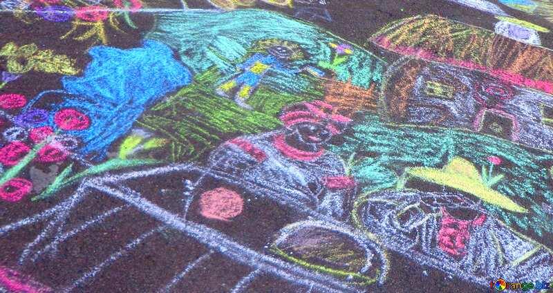 Couverture. Enfants, dessin à la craie. №32608