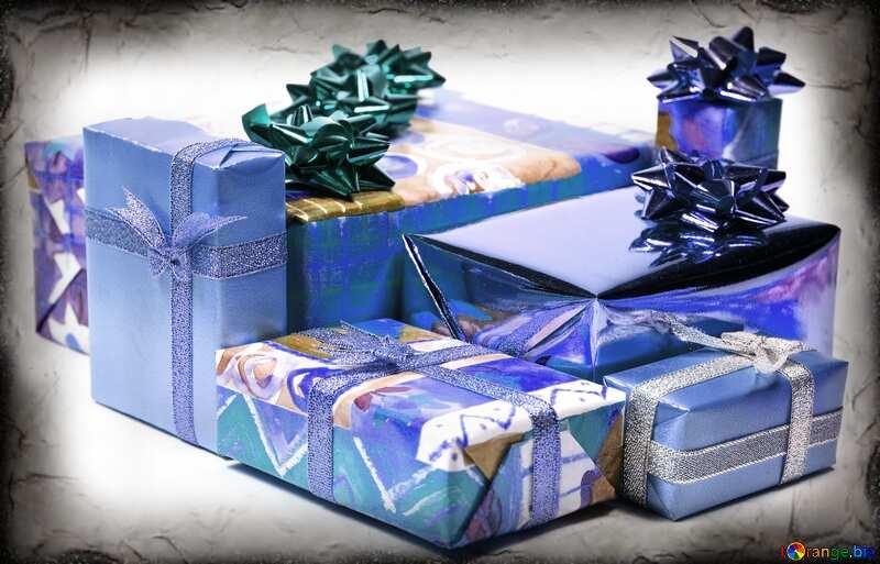 Couleur bleue. Boîtes cadeaux à Blanc fond. №6728