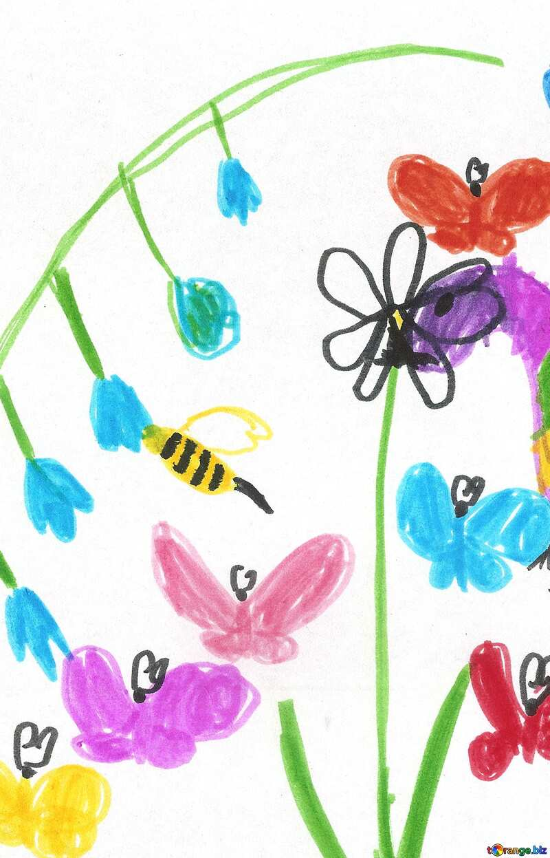 childrens drawing flowers №42783