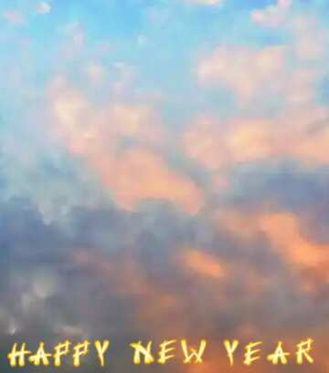 I colori molto vivaci. Frammento. Card with text Happy New Year.
