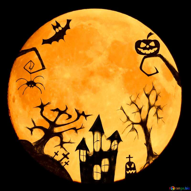 Halloween moon clipart  №40469