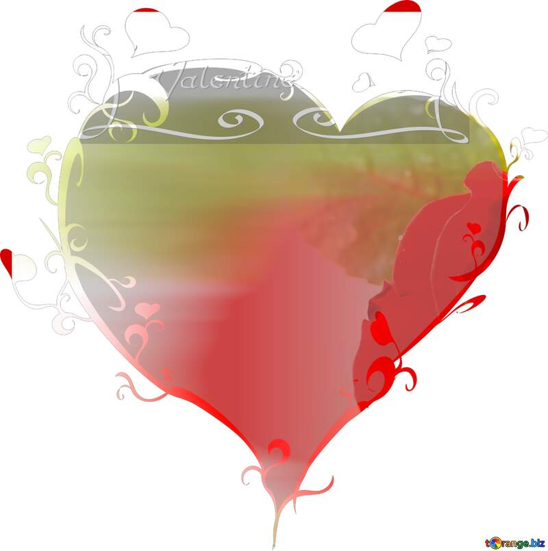 happy valentines day heart frame  template with Rose flower №17030