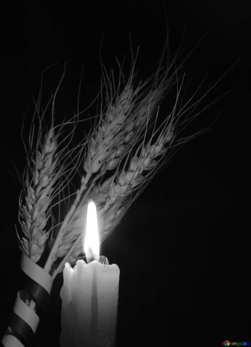 Funeral candle black and white №37793