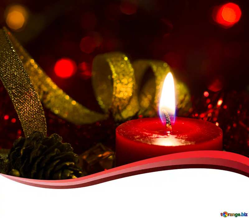 Christmas Candle  copy space card  background  №15000