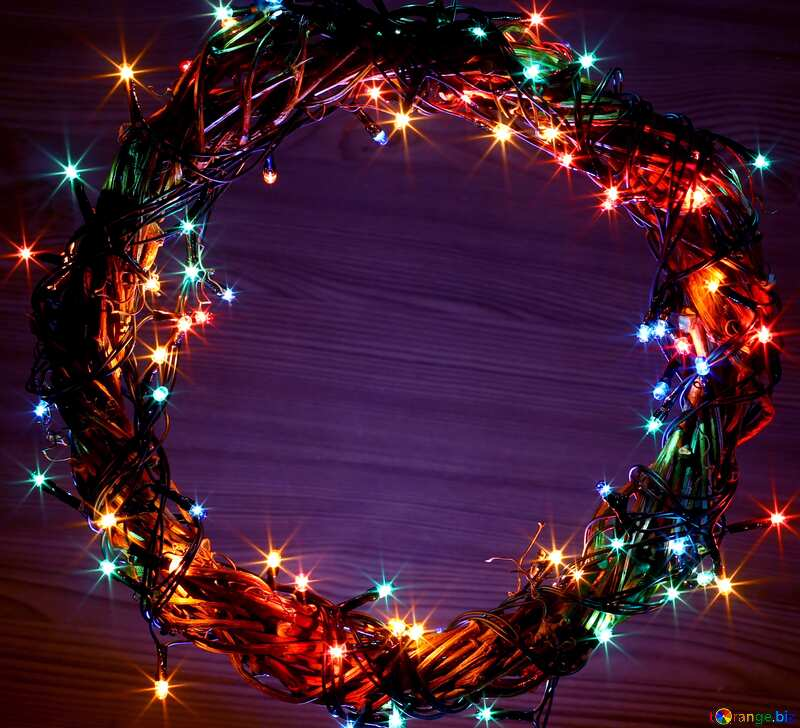 Christmas lights wreath blue background  №48021