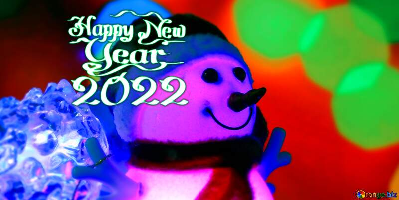 Christmas snowman new year card №48110