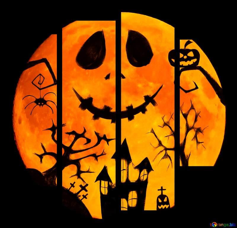 Halloween moon picture  №40468