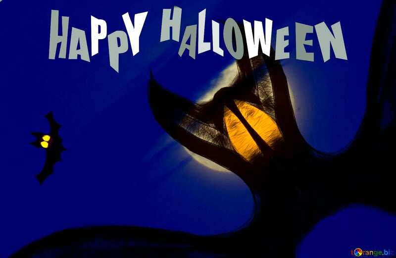 Happy Halloween card with bat  №40467