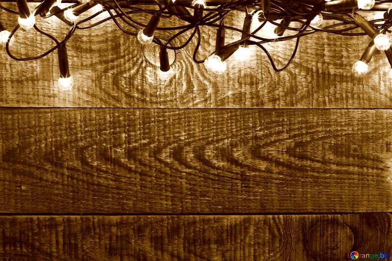 Christmas Garland on wooden wall backdrops sepia №37890