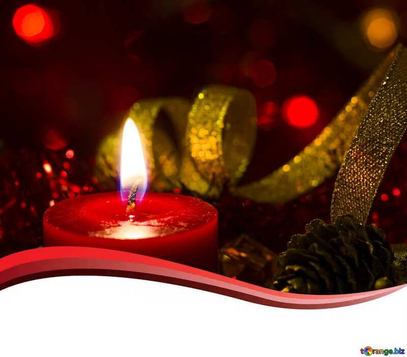 New Year Candle  copy space card  background  №15000