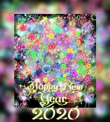 The effect of the mirror. Grey Fuzzy Border. Happy New Year 2020.