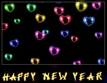 The effect of light. Vivid Colors. Blur dark frame. Fragment. Card with text Happy New Year.
