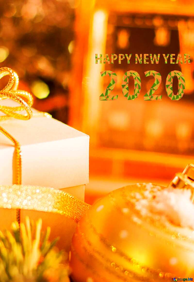 Greeting card with new year 2020 №15364