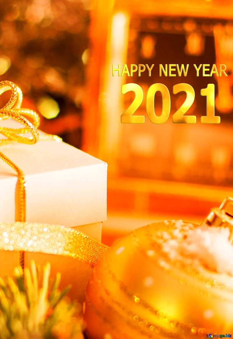 Greeting card with new year 2021 №15364