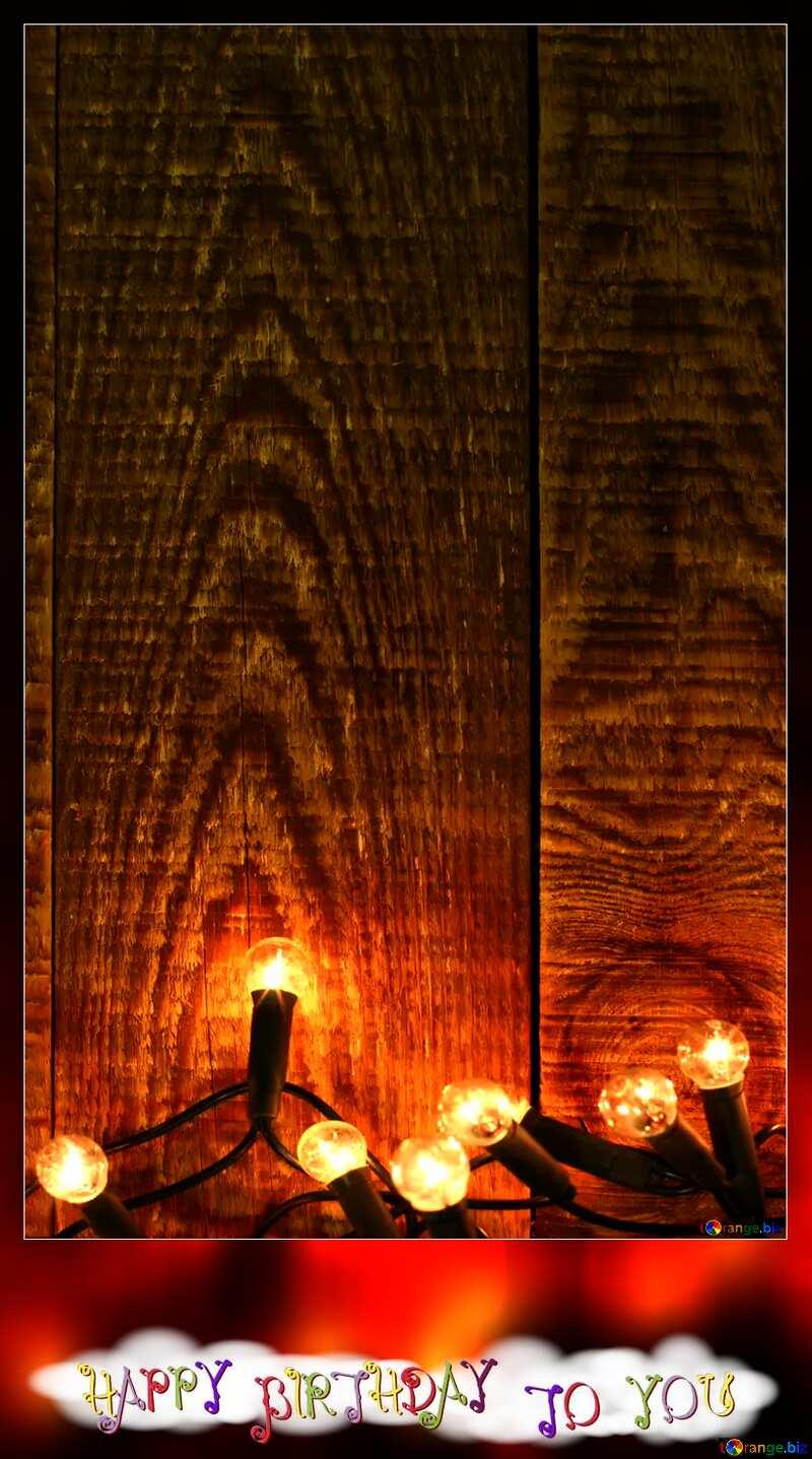 happy birthday card wood xmas lights  №37891