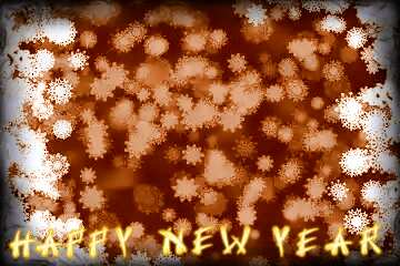 The effect of light. The effect of sepia toned. The effect of the old dark frame. Card with text Happy New Year.