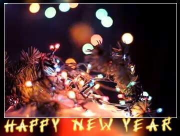 The effect of the mirror. The effect of contrast. The effect of stained bright blue. Blur dark frame. Card with text Happy New Year.