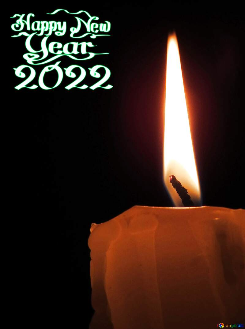Happy new year 2021 dark card with candle №17416