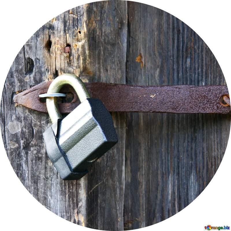 padlock old  wooden door №3291