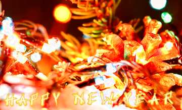 El efecto de la luz. Colores vivos. Fragmento. Card with text Happy New Year.