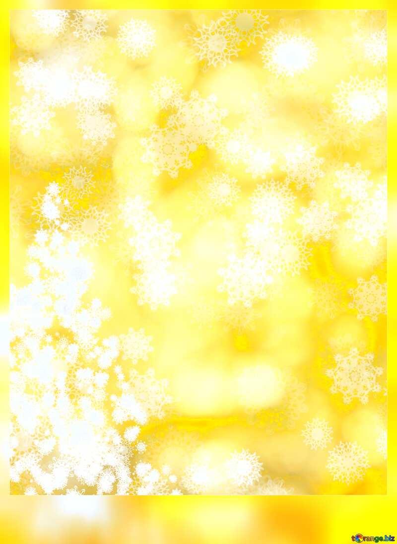 yellow winter background Christmas trees snowflakes №40671