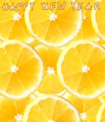 El efecto de la luz. Colores muy vivos. Fragmento. Card with text Happy New Year.