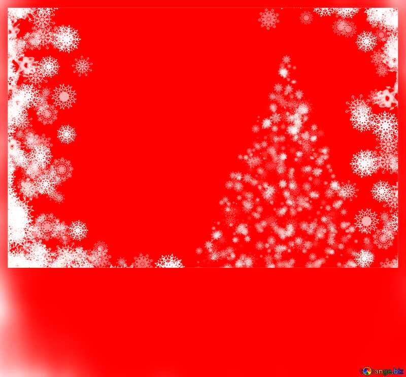Background red  Christmas clipart tree with snowflakes frame №40696