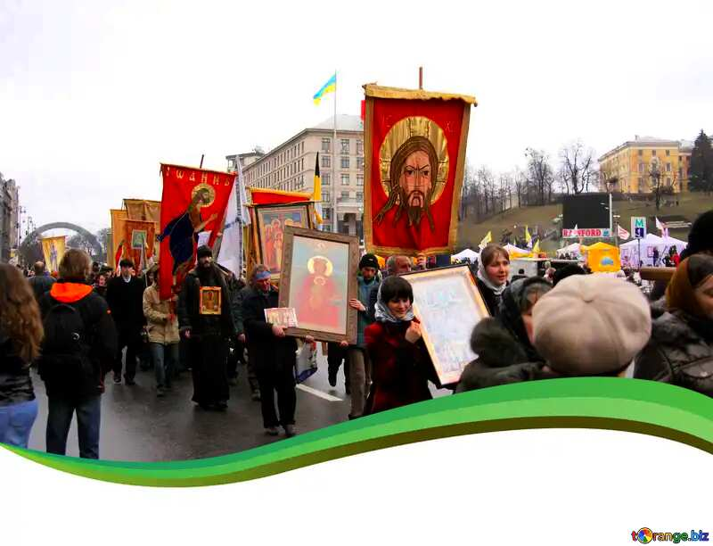 Religious procession green curved border №1042