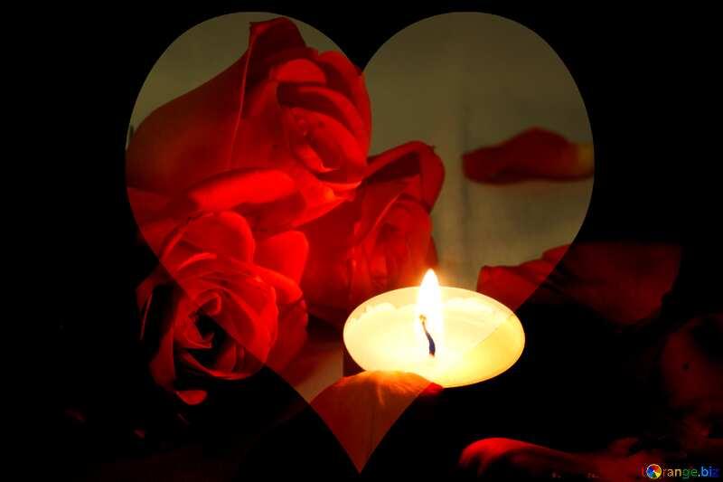Romantic  night love  heart  card №7276