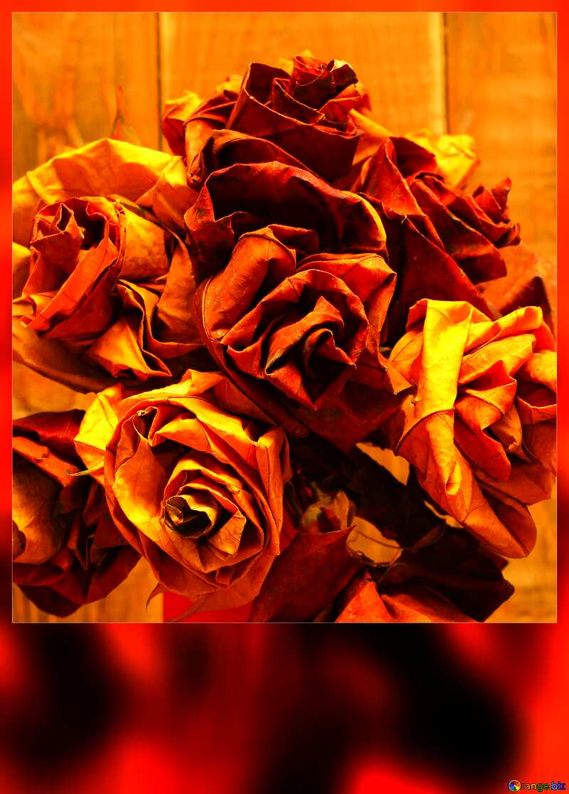 A bouquet of flowers from the fallen autumn leaves blank card №36041